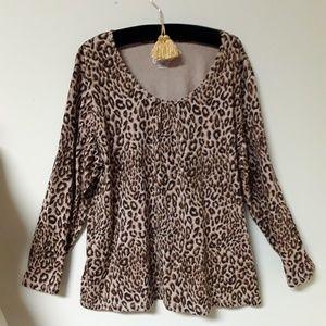 3X NWOT. JMS Leopard Print Shirt Blouse Top Tee